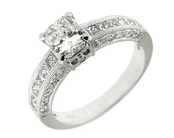 1.99 CT White GoldGIA Radiant Cut Engagement Ring 18 Kt