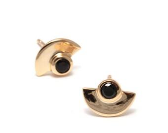 Earrings CLEO - 925 sterling silver, earrings cubic zirconia, black stone, black zircon