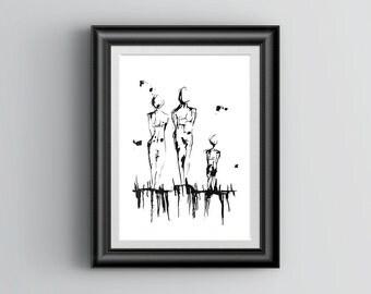 Ink Original Print, 'Threes Company', Large Wall Art Print, Vertical Art, Original Art, Black and White Art Print, Ink Art Print