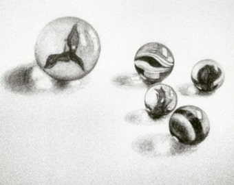 Glass Marbles Original Graphite Pencil Drawing
