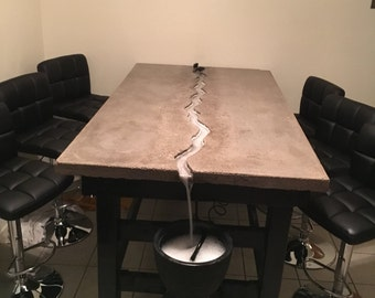 Concrete Dining Table with Waterfall