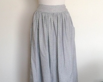 1980s Midi Skirt White Pinstripe