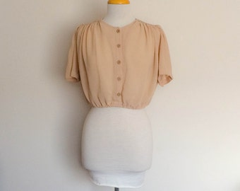 1980s Wraggs Plus Cropped  Brown/Beige Top Blouse Vintage