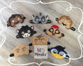 Lion King Inspired Masks, Kids Masks, Kids Costumes, Lion Mask, Hyena Mask, Timon and Pumba, Nala Mask, Simba Mask, Animal Masks, Halloween