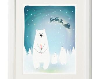 Wish-Polar bear-Baby bear-Wall art-Nursery illustration-Printable art-Digital drawing-Download print-Christmas gift