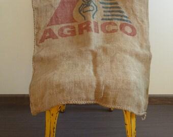 Jute canvas 1 medium-sized bag, 1970s vintage