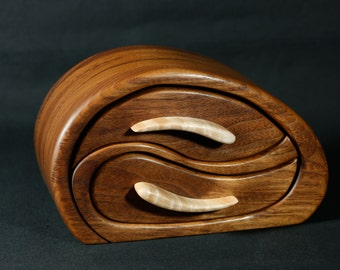 Black Walnut and Curly Maple Sculpted Bandsaw Jewelry Box (Whale Play)