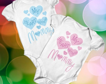 My Heart Belongs To Mummy Baby Bodysuit | Baby Shower Gift | Cute Baby Clothes | Funny Baby Bodysuit | Slogan Baby Clothes | Newborn Baby