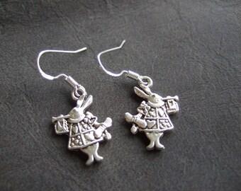Rabbit earrings, cute bunny earrings, dangling rabbit, Alice inspired earrings, double sided, silver plated rabbit, cute earring, wonderland