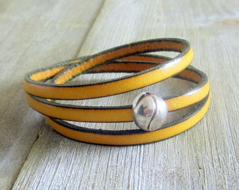 Bracelet leather yellow, 3 rounds of wrist, clasp ball plate loving money