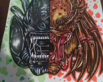 Alien/Predator hand made print
