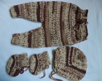 Knitted set baby pants baby booties baby Hat Gr. 44 / 50 Preemies