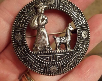 Vintage Sterling Silver Lady and Lama Brooch