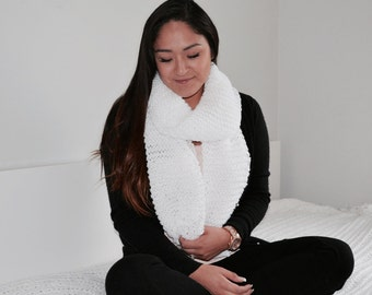 Chunky Oversized Huge Open Ended Scarf/ White