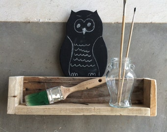 Wooden wall box with OWL/OWL on a chalkboard