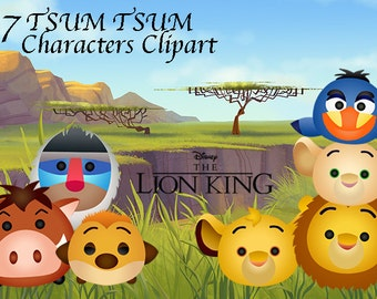 Lion King Tsum Tsum Characters. 7 High Resolution Digital Clipart. Tsum Tsum Party. Lion King Party. Baby shower. Party Supplies.