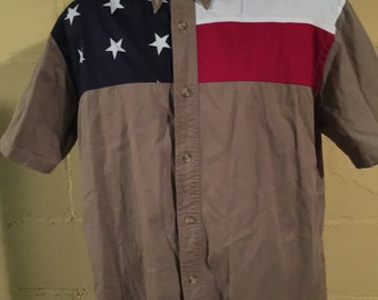American Flag Button Down Mens Large Short Sleeve shirt 4th July