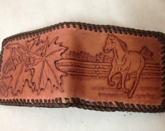 hand tooled wallet with horse scene