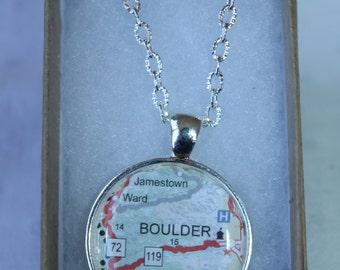 Boulder Necklace, Map Necklace, Map Pendant, Custom Map Pendant Boulder, CO
