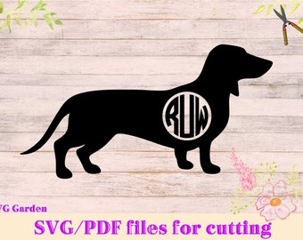 Dachshund SVG file, Circle Monogram SVG  frame for Cricut and Silhouette Vinyl Cutters Vector Graphic Files, dog monogram svg, dog svg