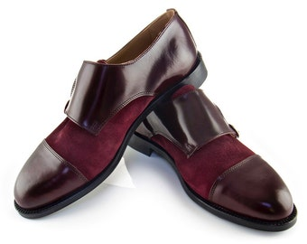 Women Handmade Double Monk Strap in Bordeaux and Wine Suede - Bordeaux Leather and Red Wine Suede