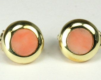 18K Coral Button Earrings