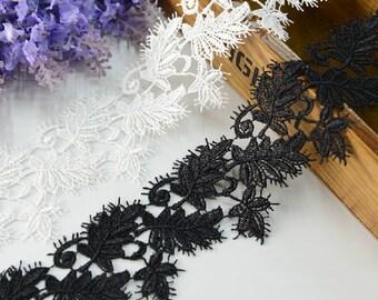 "14 yard 5.5cm 2.16"" wide black/ivory embroidery lace trim trims ribbon L22K211 free ship"