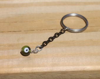 forest green evil eye protector keychain