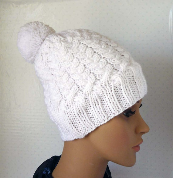 H & M - Cable-knit Hat - White. Sale $ Orig $ Fine-knit hat in a soft viscose blend with a ribbed cuff.