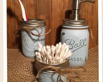Mason Jar Bathroom Set in Soothing Blue