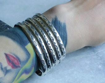 Sterling silver stacking cuff set 5 pieces- made to order