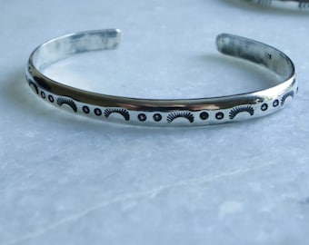 Sterling silver flourish/dots stacking cuff, made to order