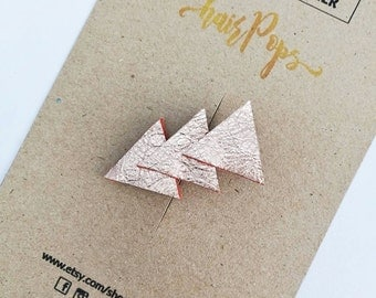 Genuine Leather Triangle Clip - Peach