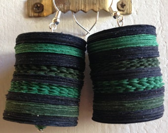 Ecological earrings made from black construction paper and green, eco-friendly jewelry, women's day
