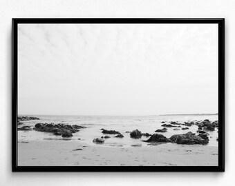 Beach print, Ocean Print, Beach Photo, Ocean Photo, Nature Print, Black and White, Nature Photo, Digital Download, Printable Wall Art