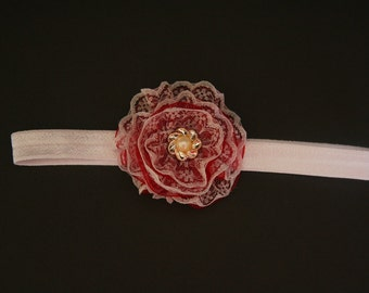 Flower bow headband. Bridesmaid headband for little girls.  Delicate pearly button. Three colors.