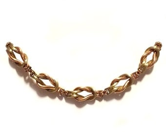 1940's Love Knot, Rose and Yellow Gold Filled Choker Necklace