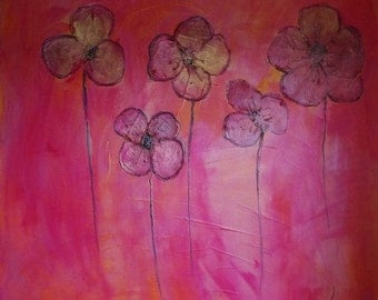 """large painting-""""pink flowers1"""""""