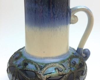Strehla GDR Vase, German Mid Century Vase, East Germany Fat Lava Vase