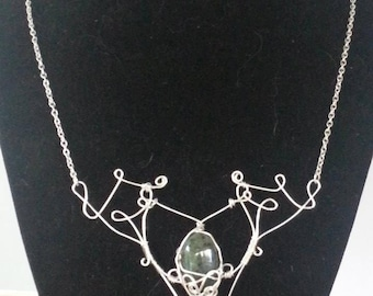 Wire Wrapped Jade Statement Necklace