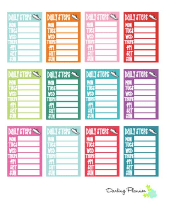 Printable Weekly Step Tracker Stickers