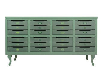 Furniture, chest of drawers, Dresser, chest of drawers, green, retro, vintage, industrial, drawers, collection, collector, design.