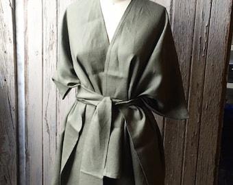 Olive green linen kimono