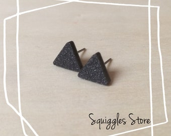 Hypoallergenic Stud Earrings with Titanium Posts - Black Shimmer Glitter Triangle - Sensitive Ears
