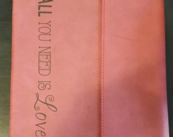 """Red Leather iPad case - """"All you need is love"""""""