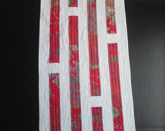 Modern Red & White Stripe Wall Quilt