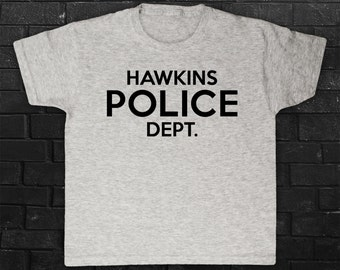 Hawkins Police Dept. Department Stranger Things Inspired TV Show Indiana PD Children's Boys Girls T-shirt Top Tee Shirt All Sizes Cols