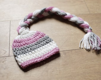 RTS Pink, white and grey Newborn pixie hat