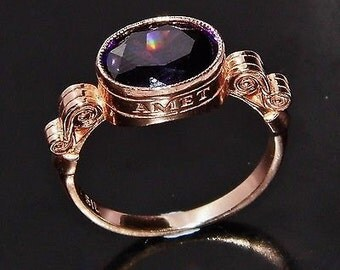 Vintage Amathyst 9ct Rose Gold on Silver 'Amet Amei' Sweetheart Ring