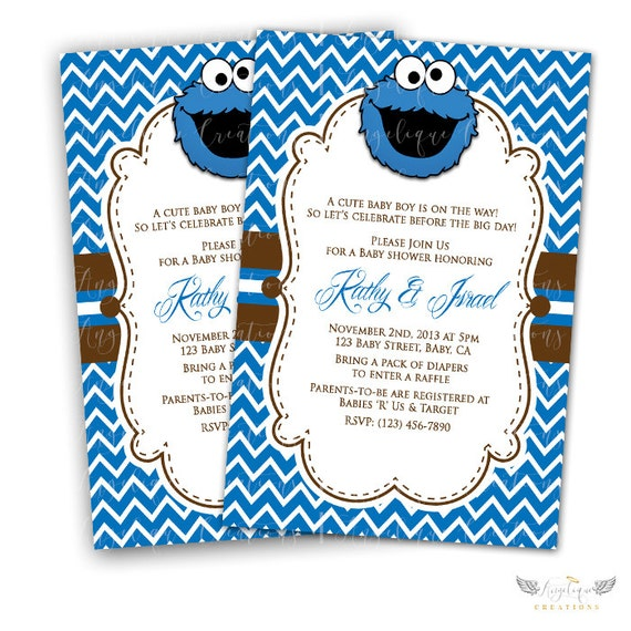 Sesame Street, Cookie Monster Baby Shower Invitations & Blank Thank You Card to match